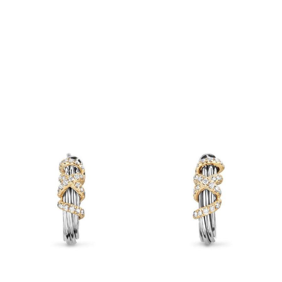 結婚祝い デイビット・ユーマン レディース ピアス・イヤリング アクセサリー Helena Small Hoop Earrings with Diamonds & 18K Gold, 西松浦郡 cd057ff5