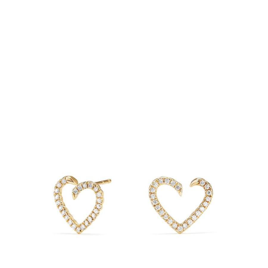 売り切れ必至! デイビット・ユーマン レディース ピアス・イヤリング アクセサリー David Yurman Heart Wrap Earrings with Diamonds in 18K Gold, 明治35年創業御菓子司松川屋良永 649c77bc