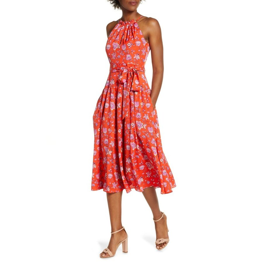 エリザジェイ レディース ワンピース トップス Eliza J Floral High Neck Midi Dress