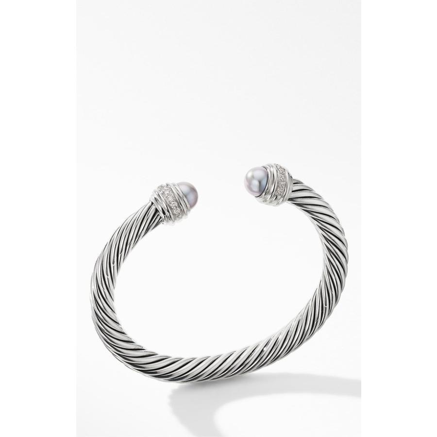 大きな取引 デイビット・ユーマン レディース ブレスレット・バングル・アンクレット アクセサリー David Yurman Cable Bracelet with Grey Pearls and Pav Diamonds, NORTH LEAF 2a36f09a