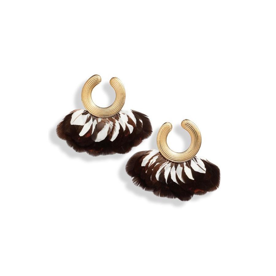 最安価格 カスビジョー レディース ピアス・イヤリング アクセサリー Gas Bijoux Positano Feather Hoop Earrings, RuleZ+ e299946b