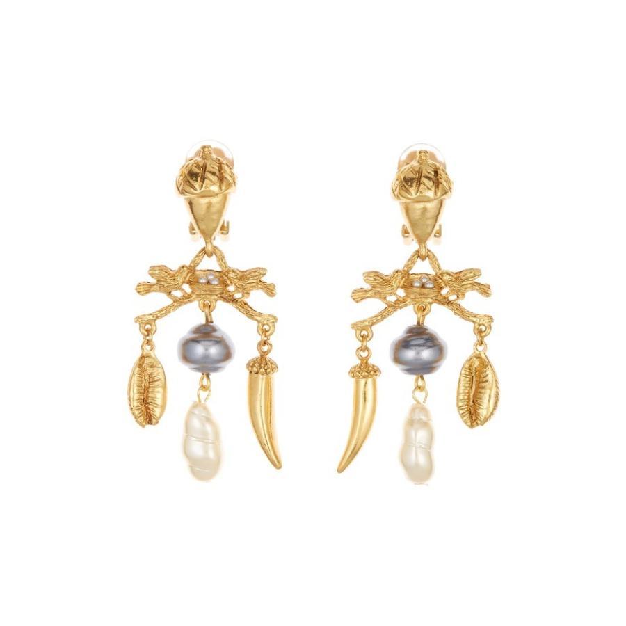 【国内発送】 オスカー デ ラ レンタ レディース ピアス・イヤリング アクセサリー Oscar de la Renta Imitation Pearl Bird Nest Clip Earrings, shouei net shop 175ed6b0