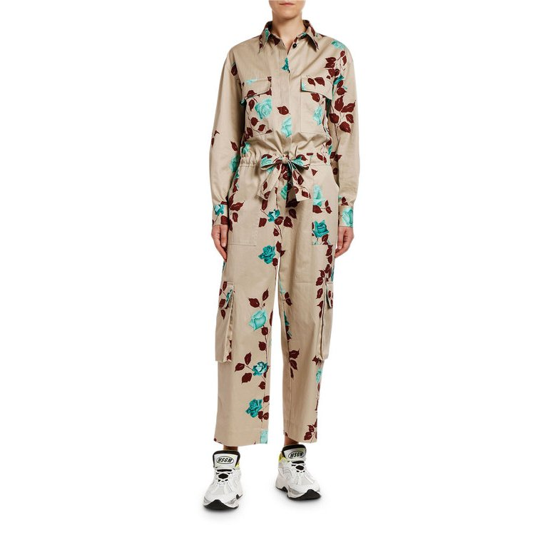 エムエスジイエム レディース ジャンプスーツ トップス Tuta Floral Long-Sleeve Jumpsuit