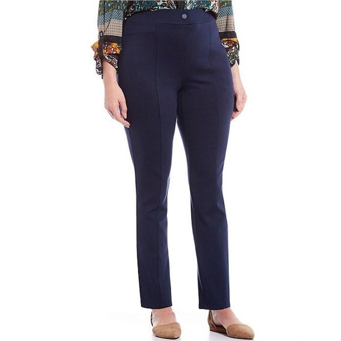 【特別訳あり特価】 イントロ レディース デニムパンツ Plus ボトムス Plus Double Size Bella Solid Double Size Knit Slim Her Straight Leg Pants, ワコムストア:8218feb2 --- chizeng.com