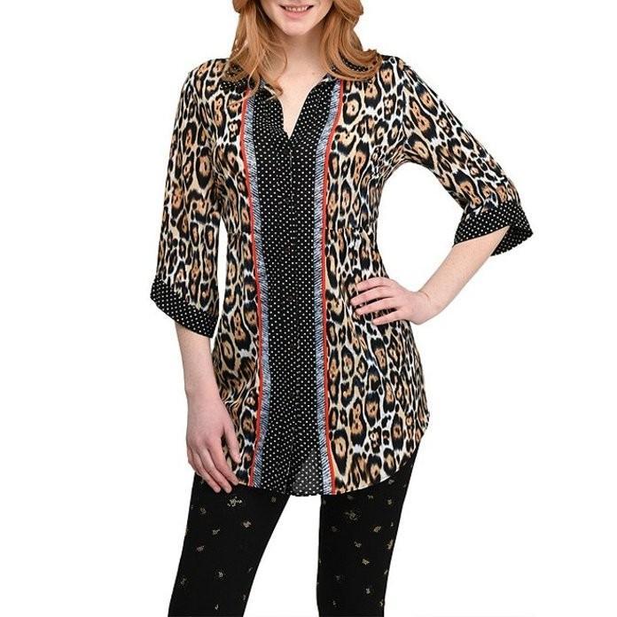 最愛 ピーター ナイガード ピーター レディース Tシャツ トップス 3/4 Sleeve Leopard Leopard Button Print Button Front Mesh Tunic, SkyBell:1b3aac29 --- lighthousesounds.com