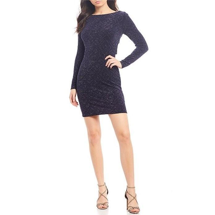 ハニーアンドロージー レディース ワンピース トップス Long Sleeve X-Back Glitter Knit Dress