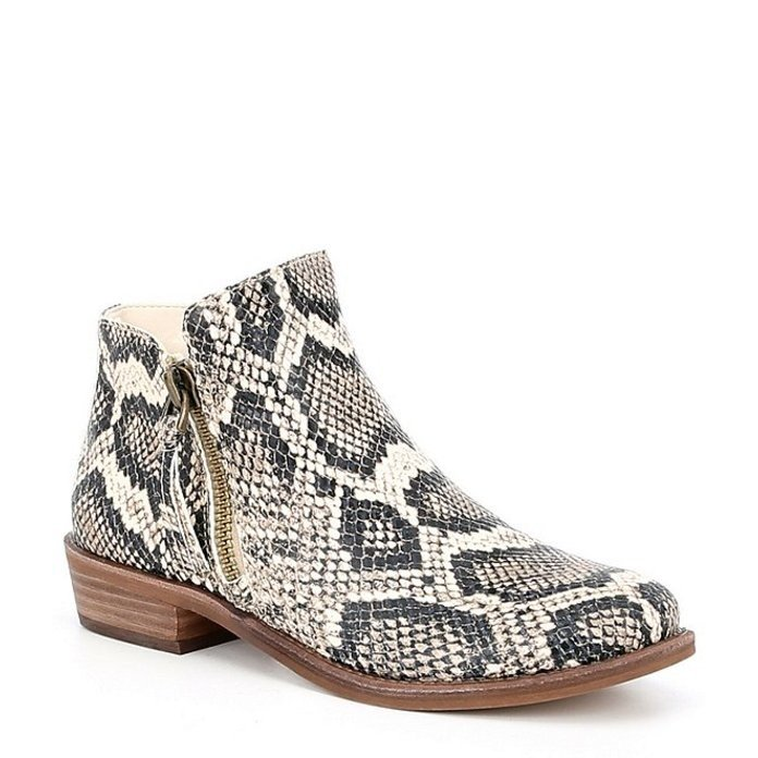 ジービー レディース ブーツ・レインブーツ シューズ A-Lister Double Zip Closure Snake Print Leather Block Heel Booties