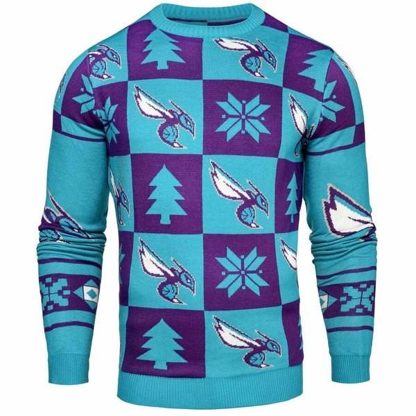 フォーエバーコレクティブルズ メンズ Tシャツ トップス Charlotte Hornets Patches Crew Neck Sweater