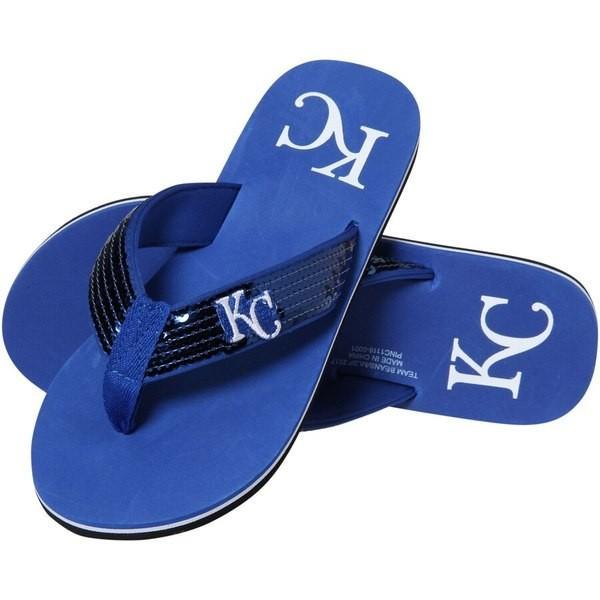 フォーエバーコレクティブルズ レディース サンダル シューズ Kansas City Royals Women's Sequin Flip Flops revida