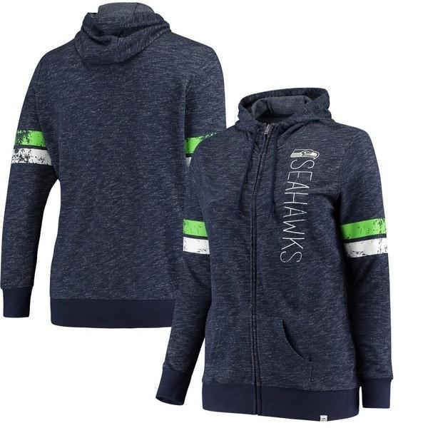 【特価】 マジェスティック レディース パーカー・スウェット アウター Seattle Seahawks Majestic Women's Athletic Tradition Full-Zip Hoodie, 七会村 85c46142