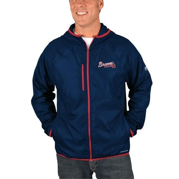 マジェスティック メンズ ジャケット・ブルゾン アウター Atlanta Braves Majestic Strong Will Dry Base Full-Zip Hooded Jacket