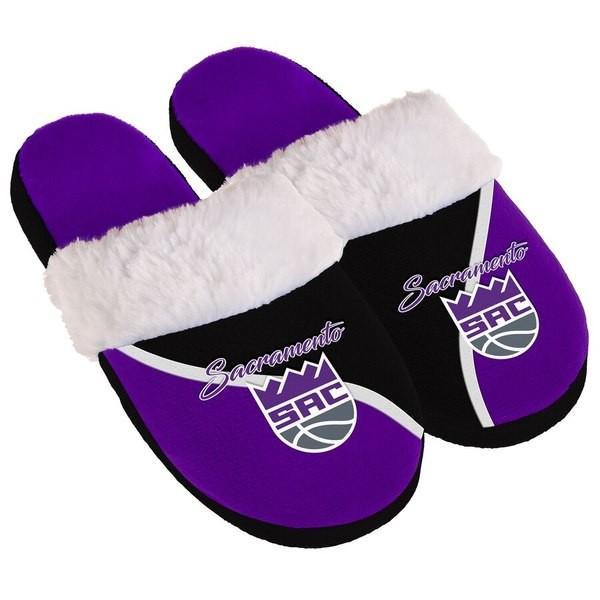 フォーエバーコレクティブルズ レディース サンダル シューズ Sacramento Kings Women's Cursive Colorblock Slippers revida