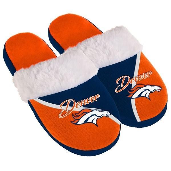 フォーエバーコレクティブルズ レディース サンダル シューズ Denver Broncos Women's Cursive Colorblock Slippers|revida