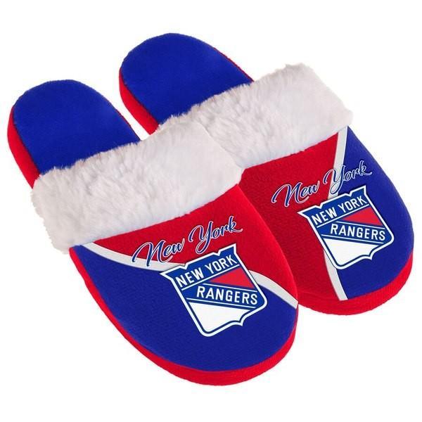 フォーエバーコレクティブルズ レディース サンダル シューズ New York Rangers Women's Cursive Colorblock Slippers|revida