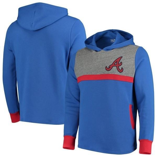 マジェスティック メンズ パーカー・スウェット アウター Atlanta Braves Majestic Threads Colorblocked Pullover Hoodie