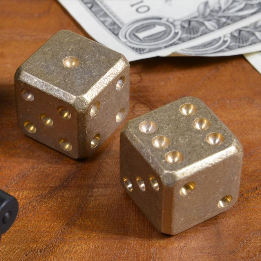 Flytanium サイコロ 真鍮 ストーンウォッシュ 2個セット ダイス