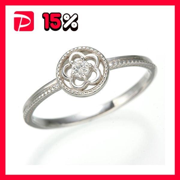 【税込?送料無料】 K10 ホワイトゴールド ダイヤリング 指輪 スプリングリング 184285 7号, Music shop たておんぷ 0ebc770e