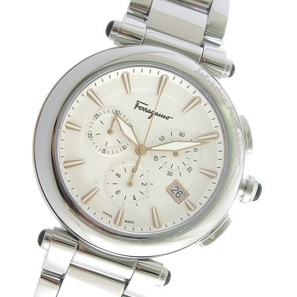 【オープニングセール】 サルヴァトーレ フェラガモ クロノ クオーツ メンズ 腕時計 FCP080017 ホワイト ホワイト, ミスギムラ 890125b2