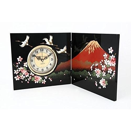山家漆器店 木製高級屏風時計 一富士二鶴三桜