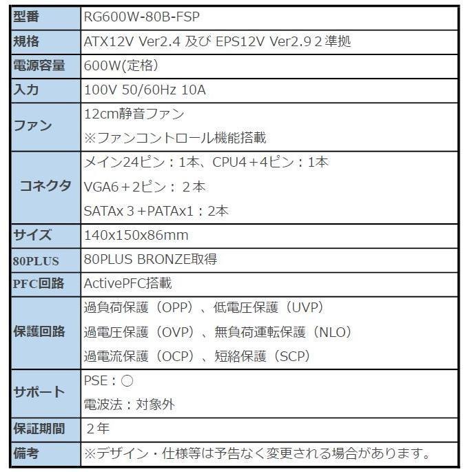 メジャーメーカーとのコラボ オリジナル電源600w RG600W-80B-FSP ゲーミング|rguildnet|02