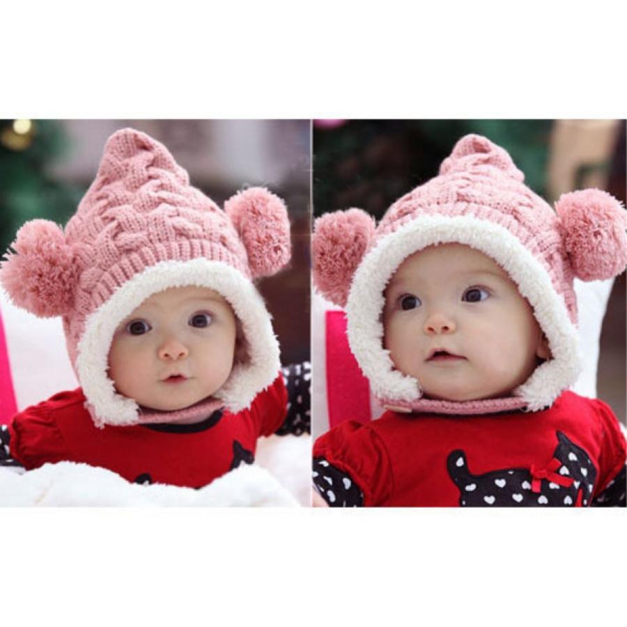 ニット帽 ベビー ベビーニット帽 かわいい 防寒 暖かい くま ぼんぼん|ribution|02