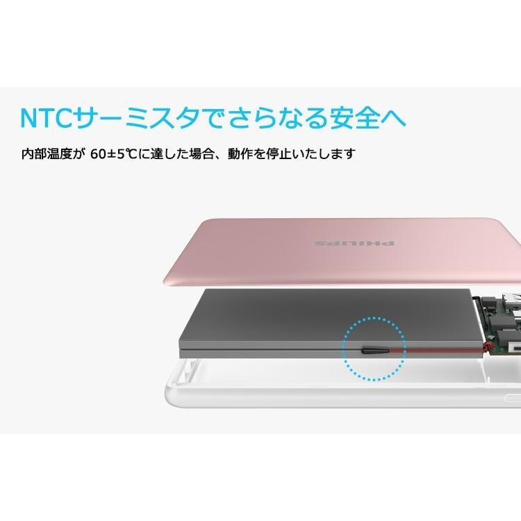 モバイルバッテリー 大容量 10000mAh タイプC ポート 搭載 USB MicroUSB QC2.0以上準拠 対応 最大 18Wh 急速充電 給電 可能 アルミ合金 頑丈 PHILIPS ブランド richgo-japan 09