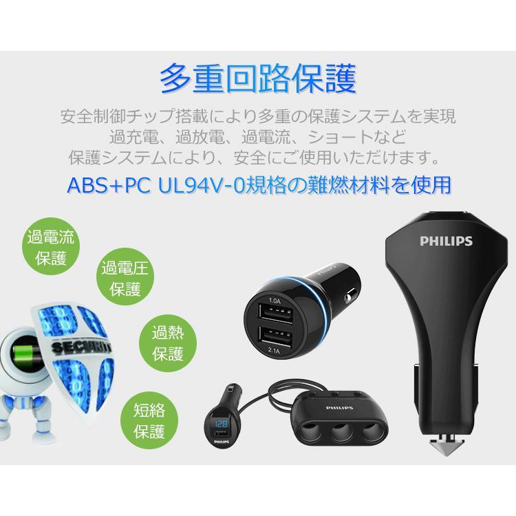 シガー ソケット カー チャージャー iPhone Android 急速充電 USBポート 2個搭載 12V 24V車対応 PHILIPS ブランド|richgo-japan|06