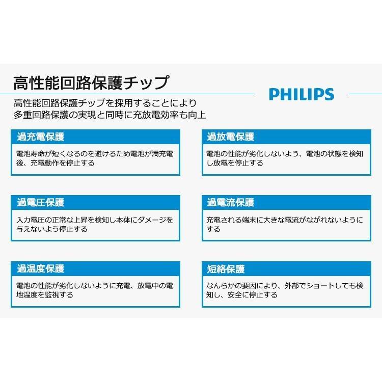 モバイルバッテリー iPhone 充電ケーブル 内蔵 大容量 10000mAh 薄型 軽量 コンパクト iPad Android USBポート 搭載 送料無料 PHILIPS ブランド|richgo-japan|07