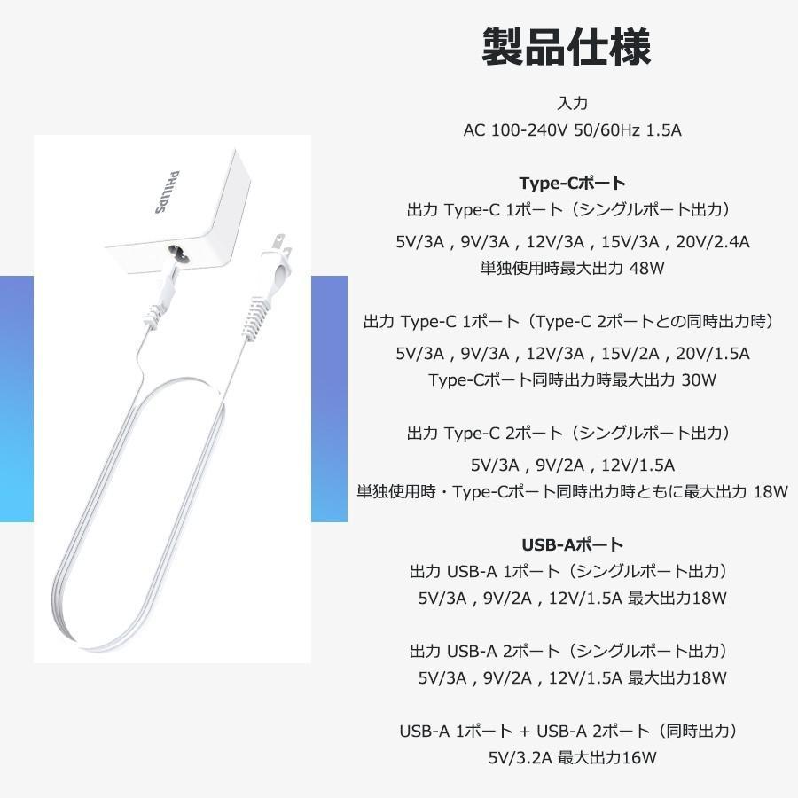 iPhone Android 対応 USB Type-C 急速 充電器 4ポート 合計 最大 66W 出力 PD QC 対応 コンパクト 安心 安全 PSE認証 PHILIPS 直販店 richgo-japan 02