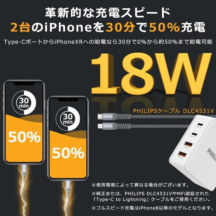 iPhone Android 対応 USB Type-C 急速 充電器 4ポート 合計 最大 66W 出力 PD QC 対応 コンパクト 安心 安全 PSE認証 PHILIPS 直販店 richgo-japan 04