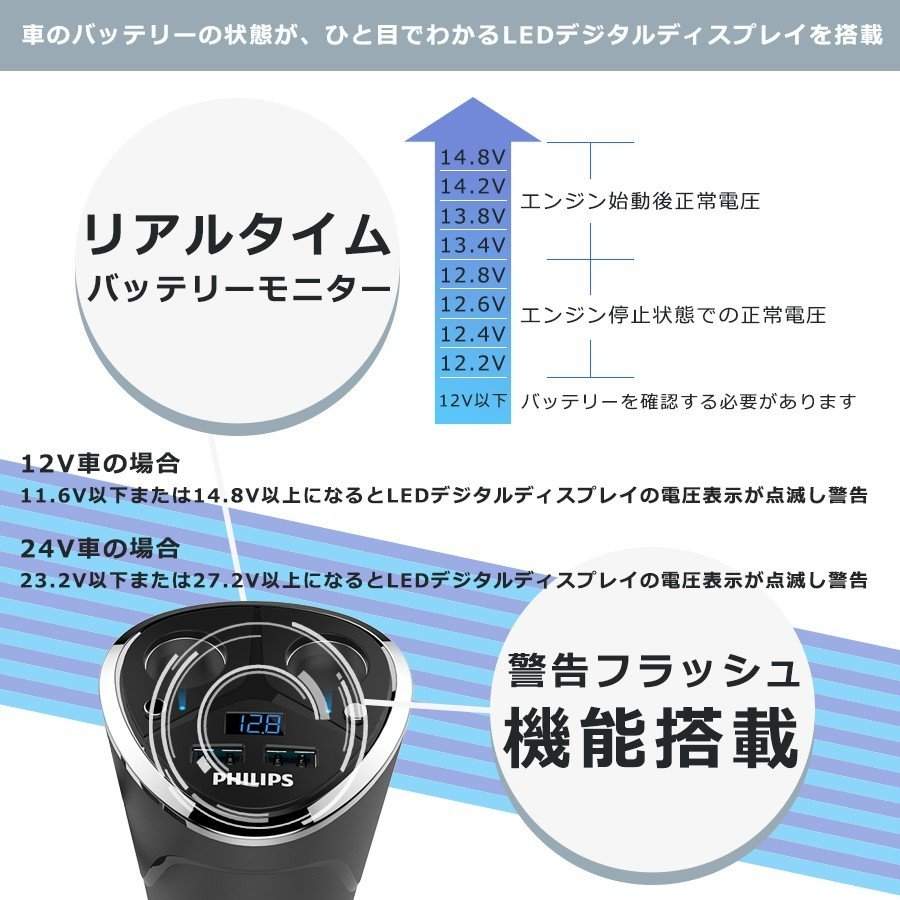 シガー ソケット usb 充電器 2連 増設 分配器 コップ型 カー チャージャー  車載用 カー用 3.4A 12v 24v 車対応 スマホ タブレット iphone Android スイッチ付き|richgo-japan|03