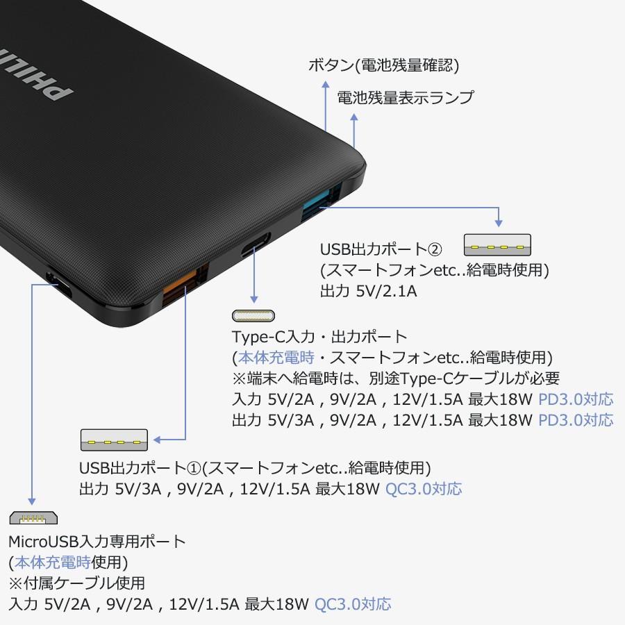 モバイルバッテリー 大容量 10000mAh スマホ充電器 軽量 PD QC 対応 最大18Wh type-C 入出力 3台同時充電 急速 PSE認証済み iPhone/iPad/Android 各種対応|richgo-japan|16