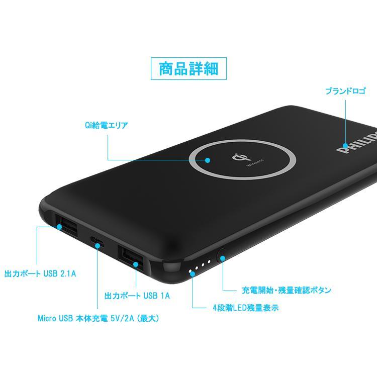 Qi ワイヤレス 充電 モバイルバッテリー 大容量 10000mAh iPhone Android 急速充電 USB ポート 搭載 QI正規認証品 送料無料 PHILIPS ブランド|richgo-japan|03