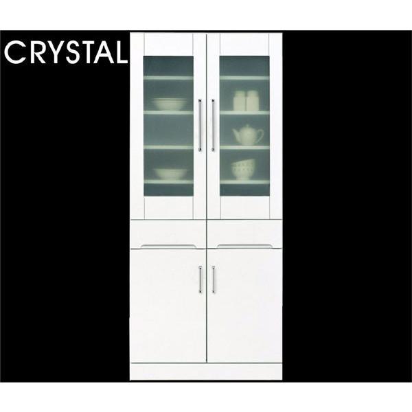 食器棚 キッチンボード ハイタイプ 幅80 高さ180 鏡面仕上げ 艶有り 光沢あり ホワイト 日本製 完成品