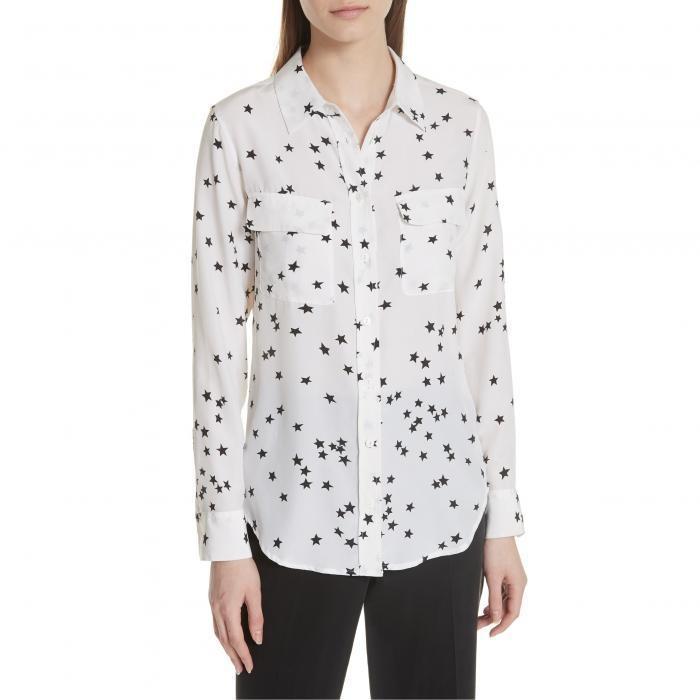 カジュアル/ファッション Tシャツ レディース 女性用 トップス 長袖 EQUIPMENT STARRY ナイト SILK SHIRT アクセサリー