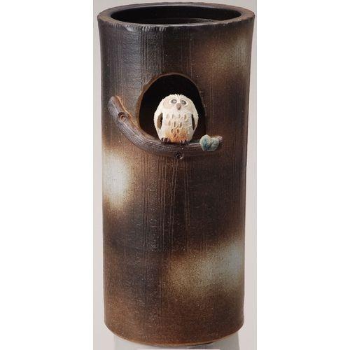 信楽焼「傘立て-まんまるふくろう傘立」 しがらき 陶器 和風 玄関 アンブレラスタンド 収納 かさたて おしゃれ おしゃれ リフル 送料無料