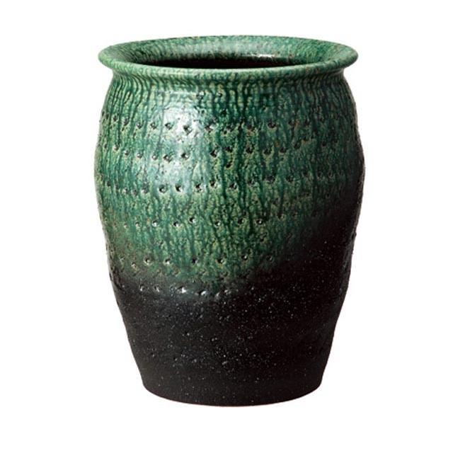 信楽焼傘立「緑彩壷型傘立」 しがらき 陶器 和風 玄関 アンブレラスタンド アンブレラスタンド ラック 収納 かさたて カサ立て 色 リフル おしゃれ 送料無料
