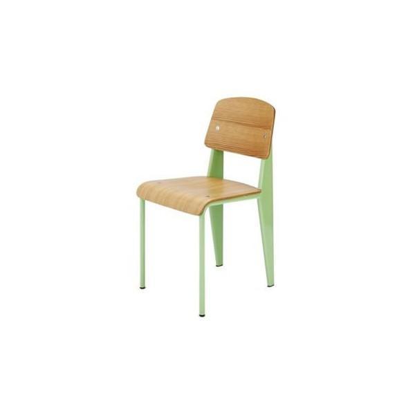 《学生時代の教室にあるような懐かしいデザインの椅子》ジャン・プルーヴェ スタンダードチェア Standard Standard ChairDC-595-GRグリーン