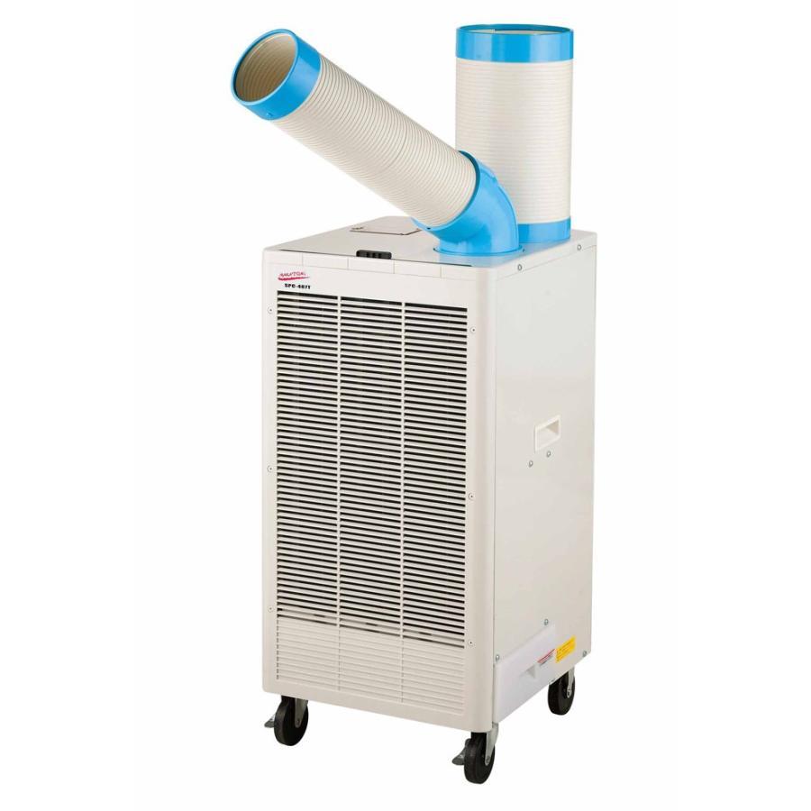 《電源接続工事とダクト類の簡単な組み立てで使用OK。三相200V用》ナカトミ 排熱ダクト付スポットクーラーSPC-407T自動首振り三相200V用(冷房能力2.2kW/2.5kW)