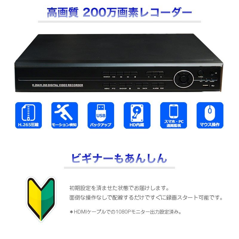 防犯カメラ レコーダー デジタルレコーダー 録画機 AHD/TVI/CVI/アナログ(CVBS) 4CH LS-HVR9204 2TB付 ring-g 02