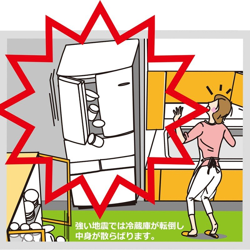 耐震グッズ 防災グッズ 冷蔵庫 家具転倒防止 扉開放防止 震度自動感知 冷蔵庫ヤモリセット 両開き用 RY-SET002|ring-g|02