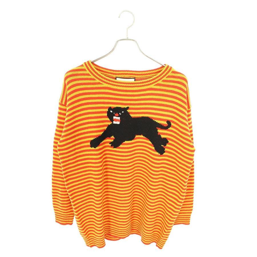 大量入荷 グッチ GUCCI Striped Puma Sweater 457376 X1426 ボーダーアニマル刺繍ニット M オレンジ×レッド 【OM10】【501002】【】, 沖縄健康食品Webショップ b8d74bf6