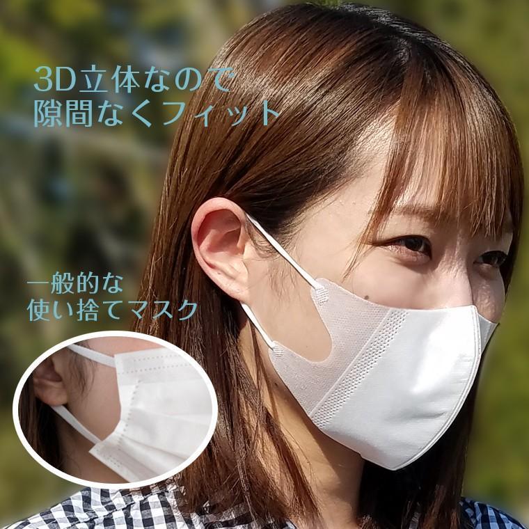 3D立体不織布マスク 10枚セット在庫あり 不織布 使い捨て 立体 大人用 男女兼用 防じん 飛沫 花粉 咳 ホワイト 白 小さめ 小顔 息がしやすい  呼吸が楽 送料無料 rirty 05