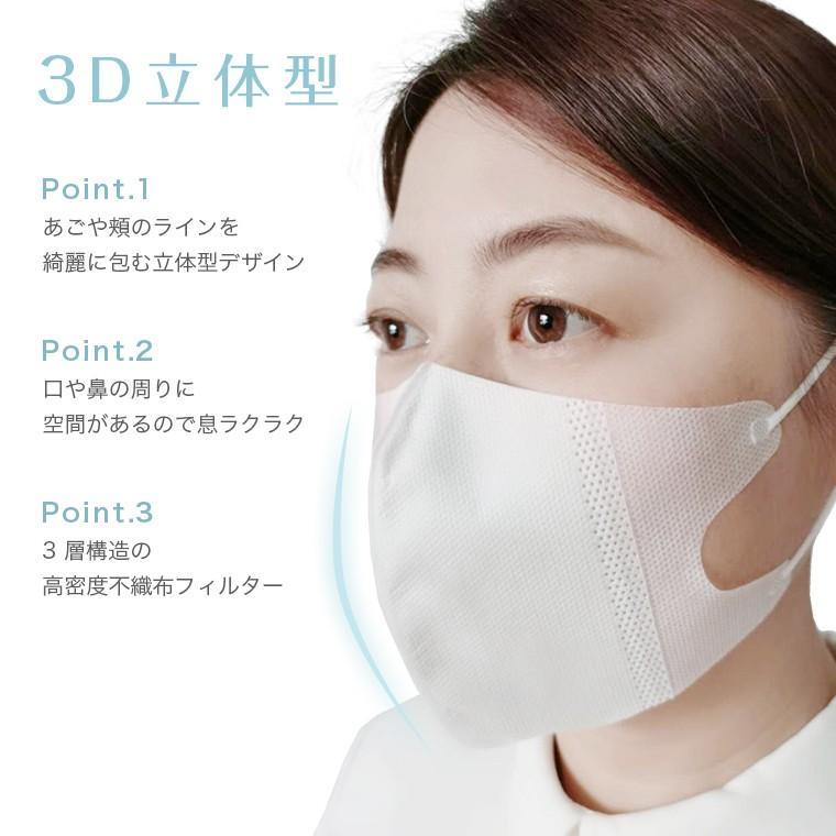 高密度!3D立体不織布マスク 50枚セット 在庫あり 不織布 マスク 使い捨て 超立体 大人用 3D フィルター 花粉  息がしやすい  呼吸が楽 小顔 小さめ 送料無料|rirty|03
