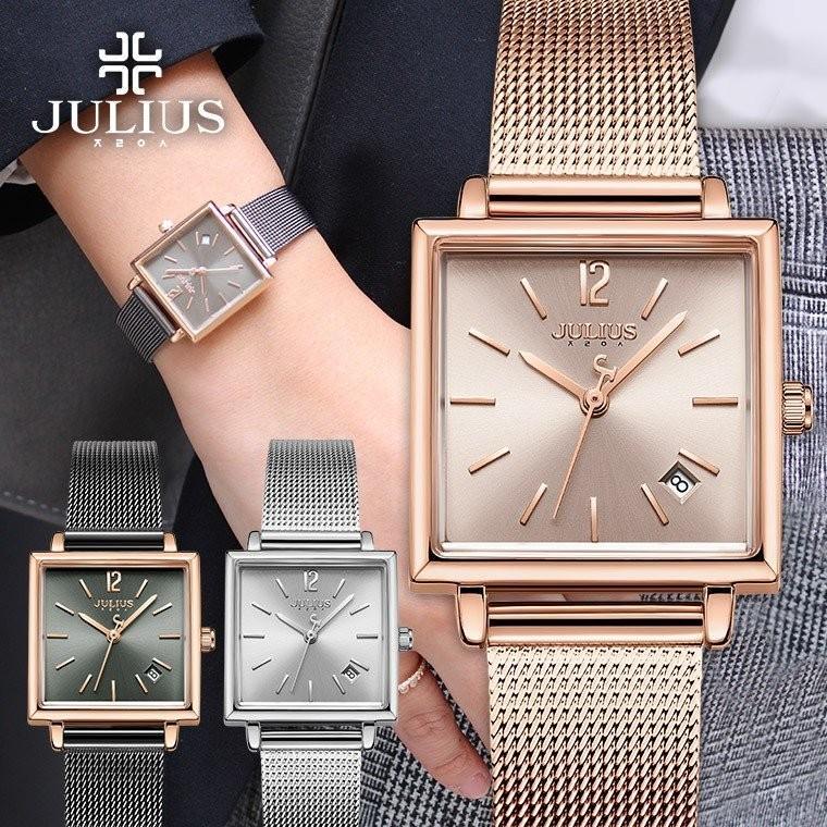 腕時計 レディース 時計 防水 ウォッチ おしゃれ シンプル  20代 30代 40代 50代 スクエア型 カレンダー JULIUS プレゼント 母の日 ギフト 四角 rirty