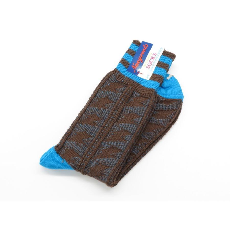ネイビールーツ NAVY ROOTS 稲妻柄 コットン ソックス 靴下 ブラウン×ブルー 25-27cm(ワンサイズ)|ritagliolibro|03