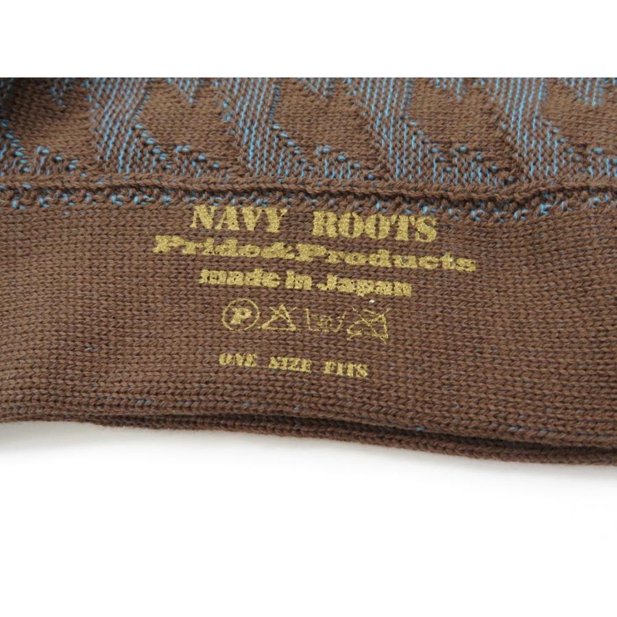 ネイビールーツ NAVY ROOTS 稲妻柄 コットン ソックス 靴下 ブラウン×ブルー 25-27cm(ワンサイズ)|ritagliolibro|04