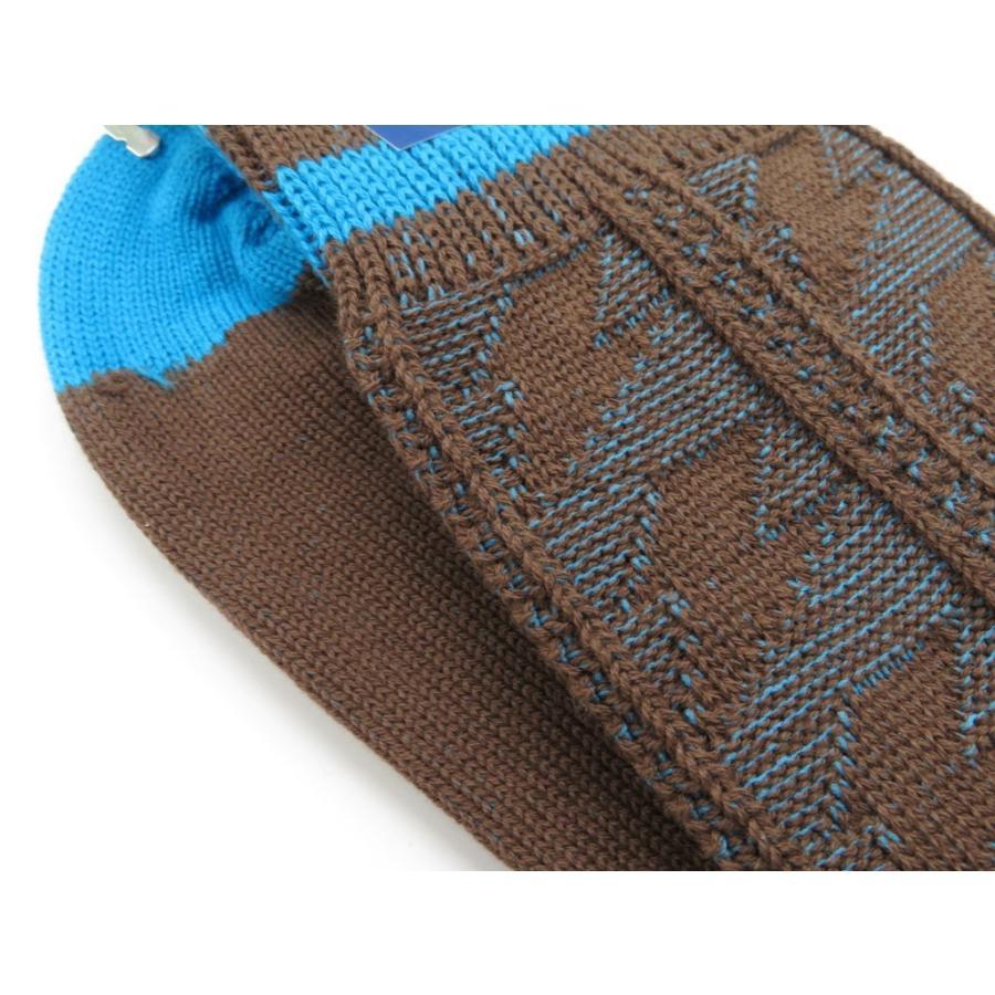 ネイビールーツ NAVY ROOTS 稲妻柄 コットン ソックス 靴下 ブラウン×ブルー 25-27cm(ワンサイズ)|ritagliolibro|05