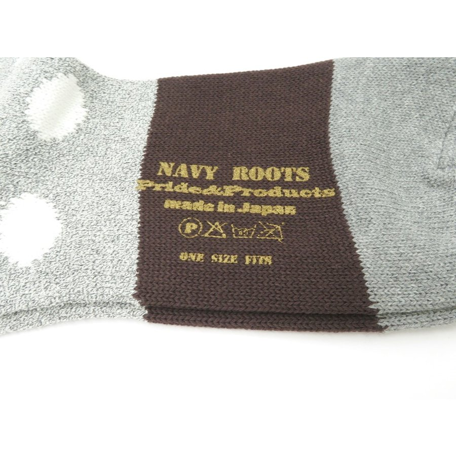 ネイビールーツ NAVY ROOTS コットン ポルカドット ソックス 靴下 グレー×ブラウン 25-27cm(ワンサイズ)|ritagliolibro|03