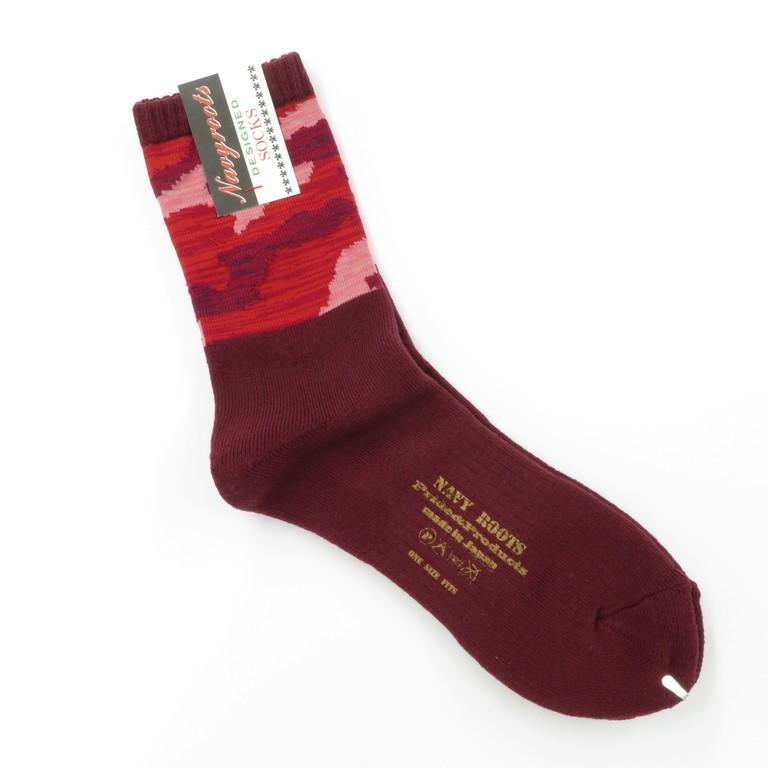 ネイビールーツ NAVY ROOTS カモフラージュ柄 コットン×アクリル パイルソックス 靴下 マルーン 25-27cm(ワンサイズ)|ritagliolibro